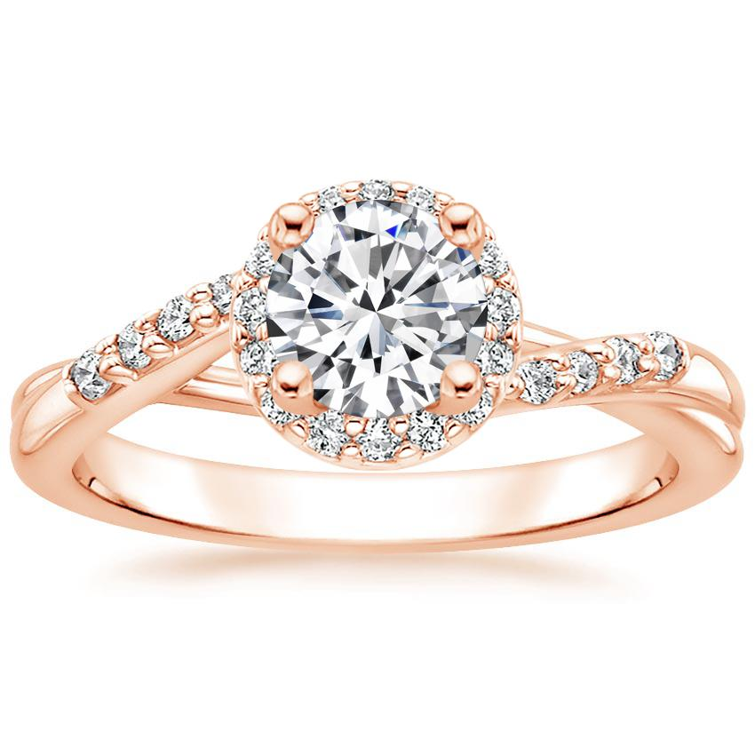 Round 14K Rose Gold Chamise Halo Diamond Ring (1/5 ct. tw.)