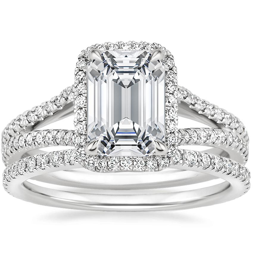 18K White Gold Fortuna Diamond Ring (1/2 ct. tw.) with Luxe Ballad Diamond Ring (1/4 ct. tw.)