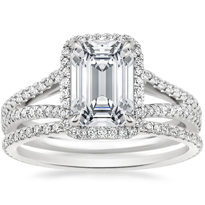 Platinum Fortuna Diamond Ring (1/2 ct. tw.) with Whisper Eternity Diamond Ring (1/4 ct. tw.)