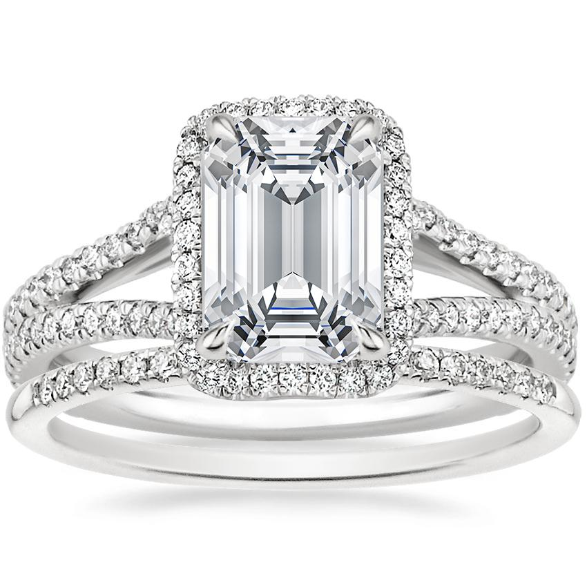 Platinum Fortuna Diamond Ring (1/2 ct. tw.) with Whisper Diamond Ring (1/10 ct. tw.)