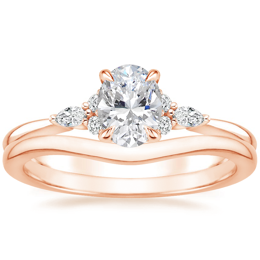 14K Rose Gold Nadia Diamond Ring with Petite Curved Wedding Ring