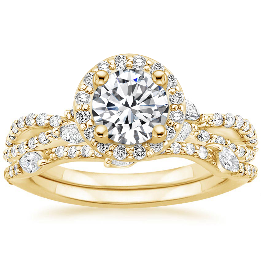 18K Yellow Gold Luxe Willow Halo Diamond Bridal Set (5/8 ct. tw.)