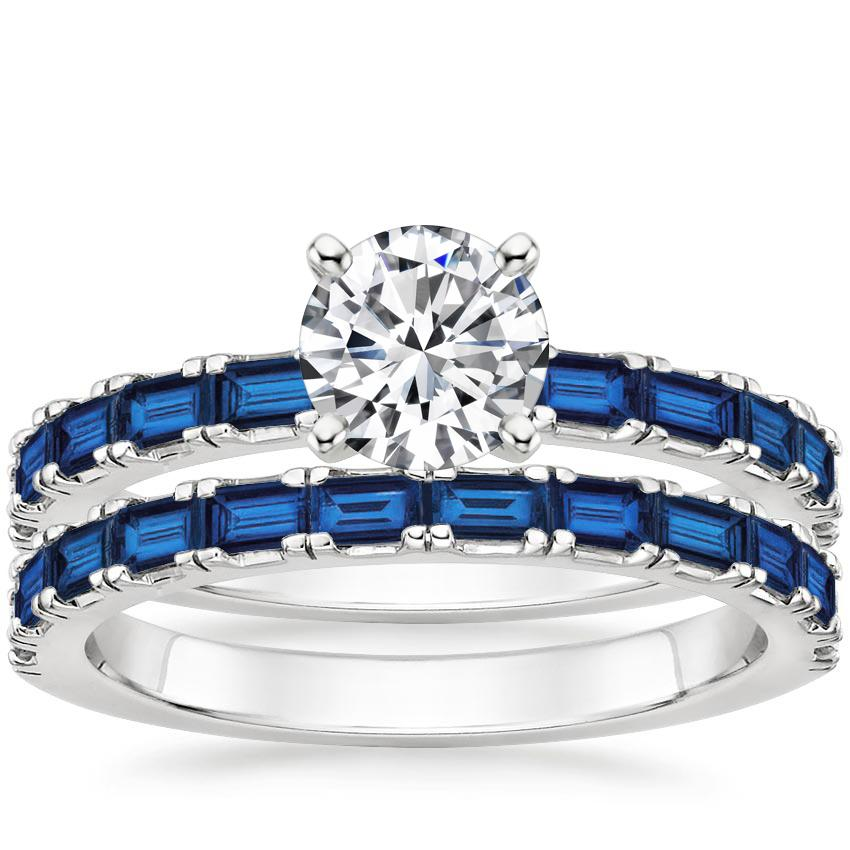 18K White Gold Gemma Bridal Set with Sapphire Accents