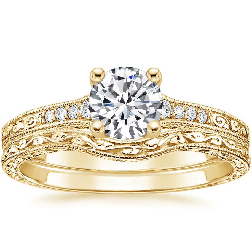 18K Yellow Gold Contoured Luxe Hudson Diamond Bridal Set