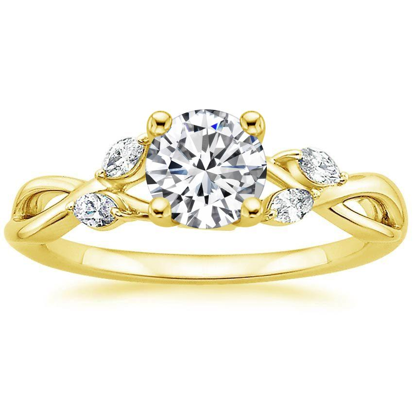 18K Yellow Gold Willow Diamond Ring, top view