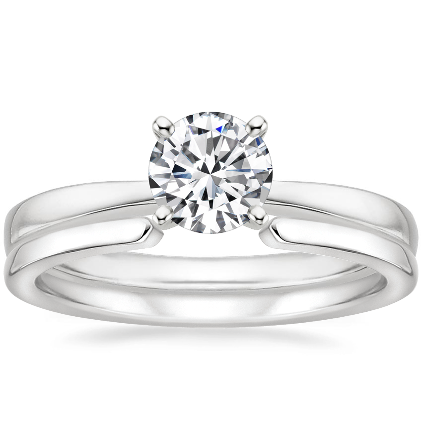 18K White Gold Petite Taper Ring with Liv Wedding Ring