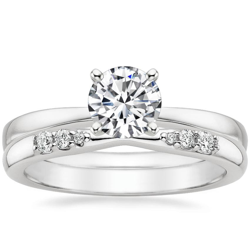 18K White Gold Petite Taper Ring with Lark Diamond Ring