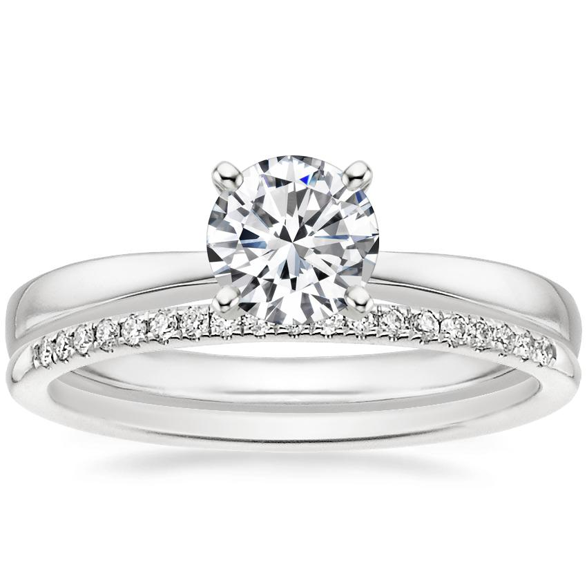 18K White Gold Petite Taper Ring with Whisper Diamond Ring (1/10 ct. tw.)