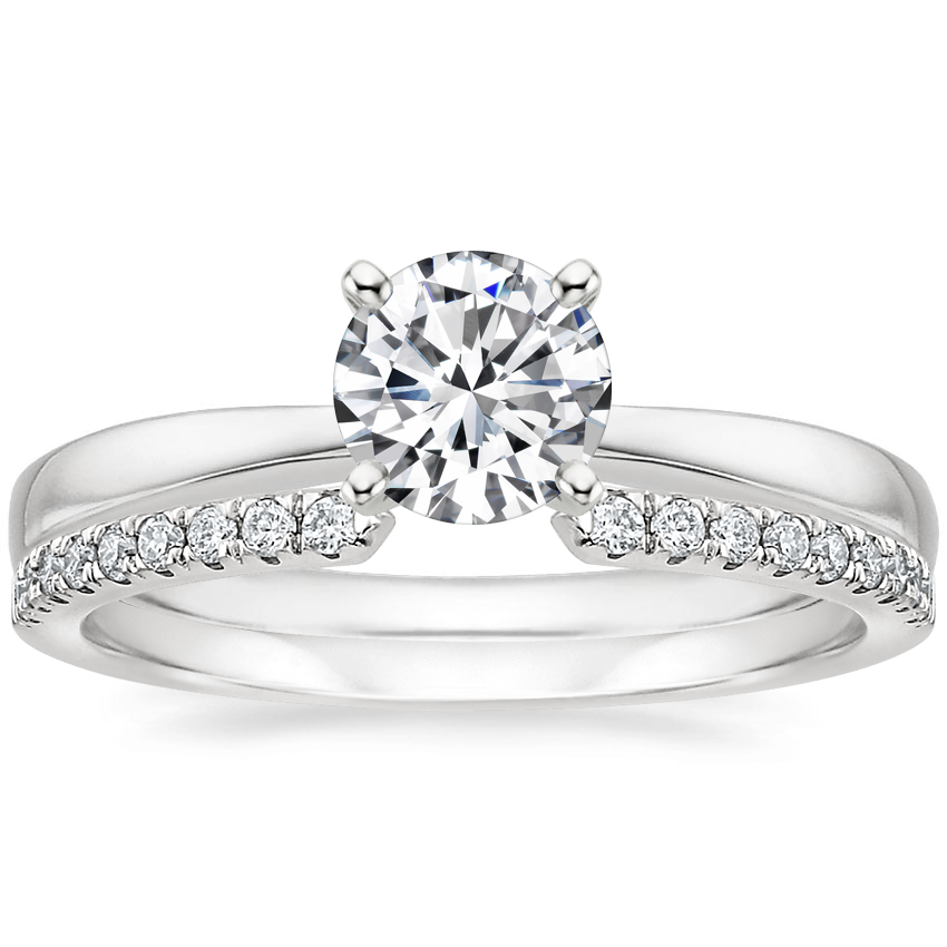 18K White Gold Petite Taper Ring with Sia Diamond Ring (1/8 ct. tw.)