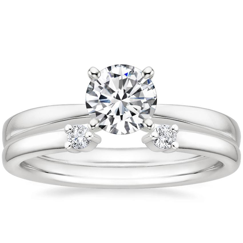 Platinum Petite Taper Ring with Wren Diamond Ring