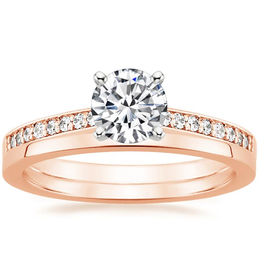 14K Rose Gold Starlight Diamond Ring with Petite Quattro Wedding Ring