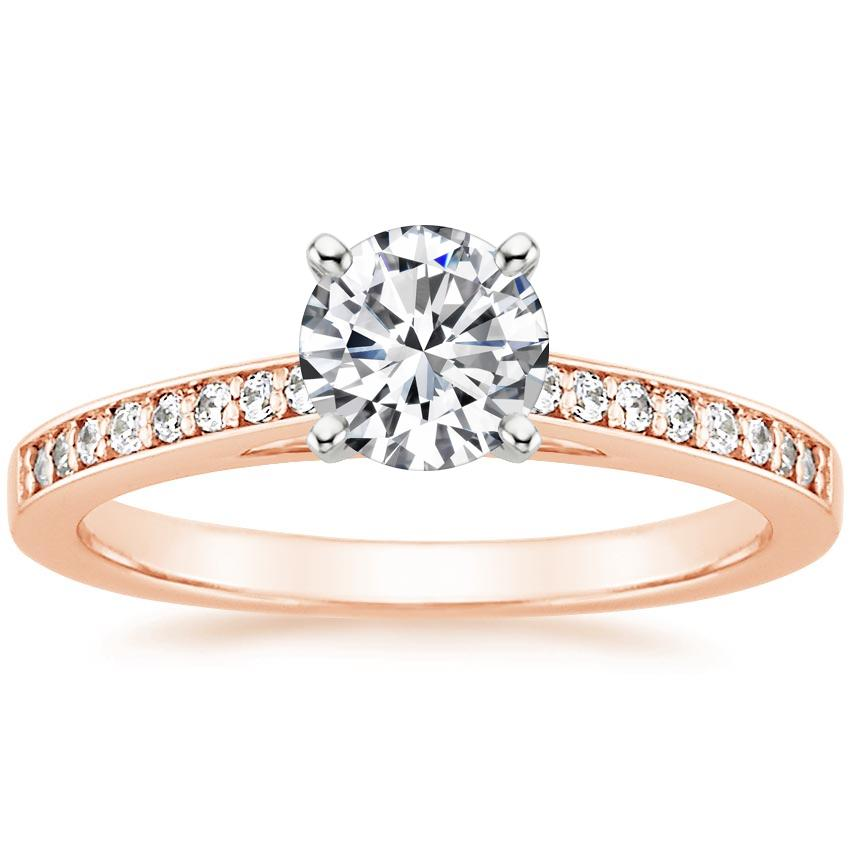 Round 14K Rose Gold Starlight Diamond Ring