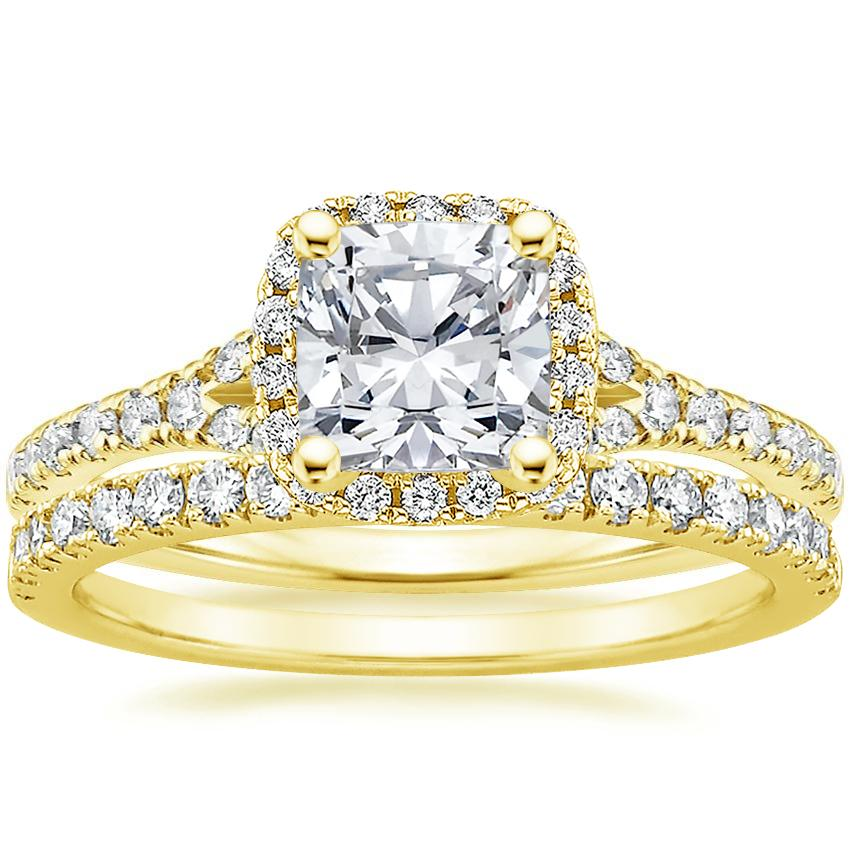 18K Yellow Gold Harmony Diamond Ring with Bliss Diamond Ring (1/4 ct. tw.), top view
