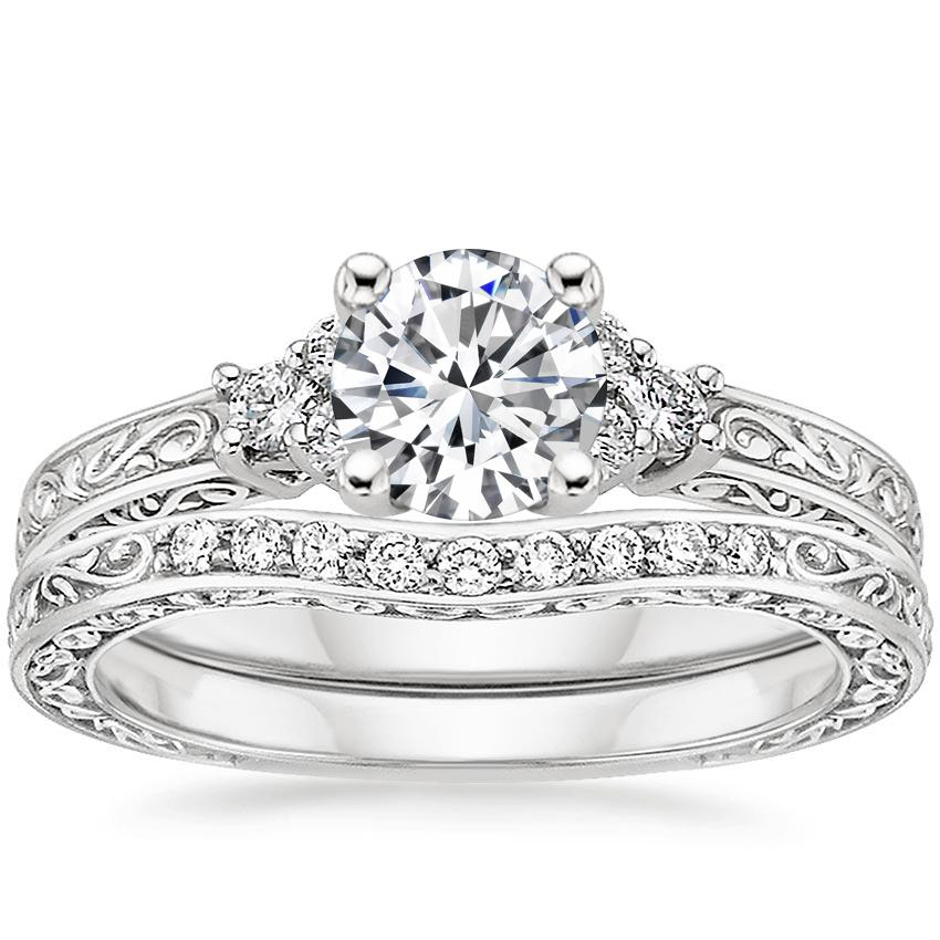 18K White Gold Adorned Trio Diamond Bridal Set (1/4 ct. tw.)