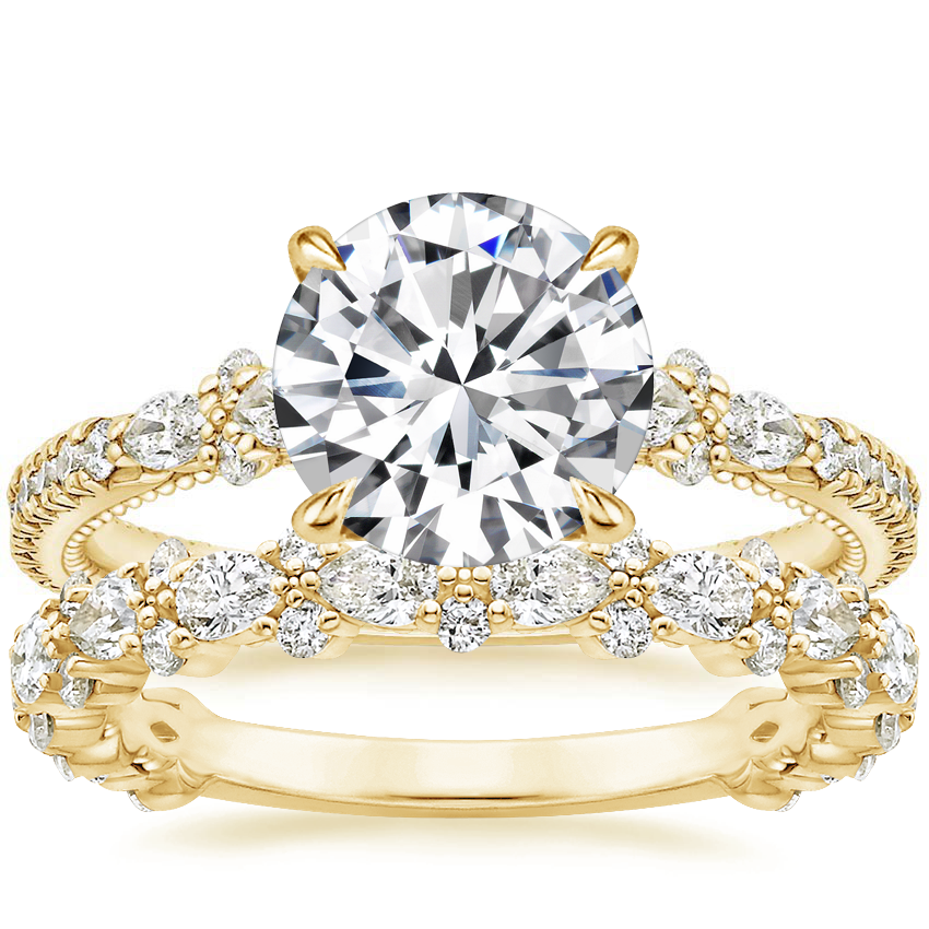 18K Yellow Gold Primrose Diamond Ring with Viola Diamond Ring (3/4 ct. tw.)