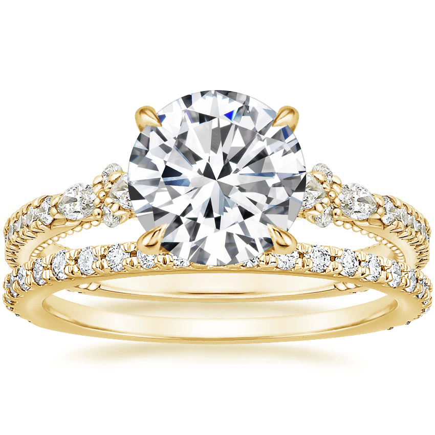 18K Yellow Gold Primrose Diamond Ring with Luxe Sonora Diamond Ring (1/4 ct. tw.)