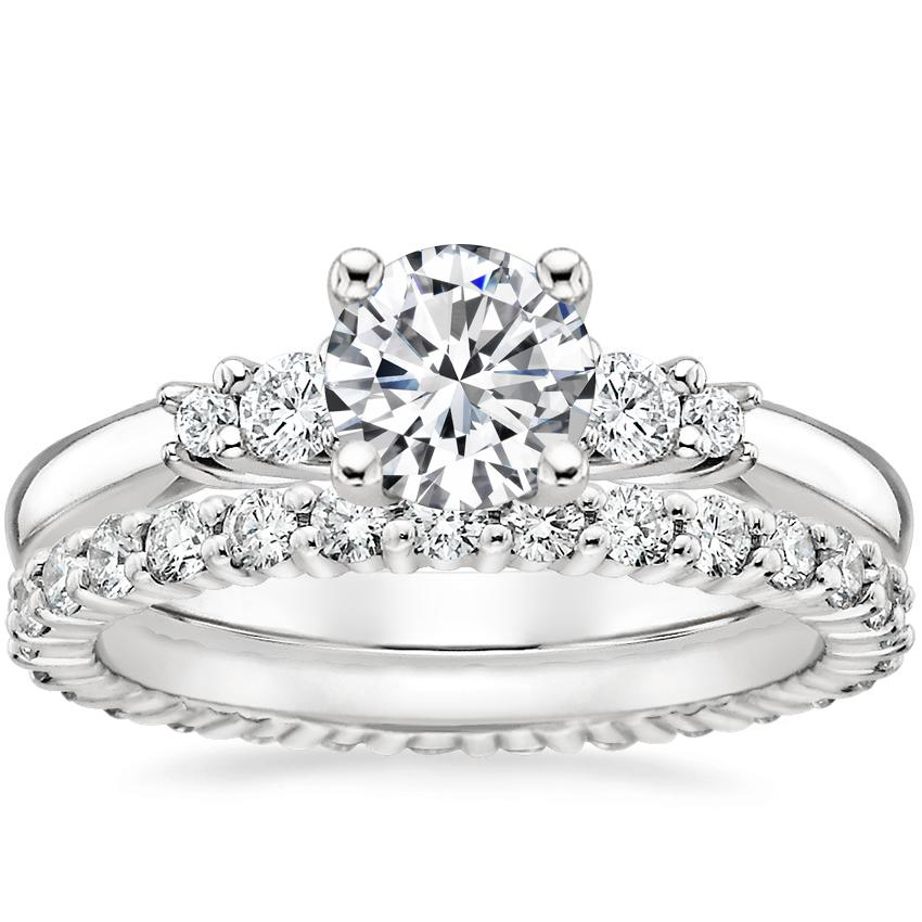 18K White Gold Rialto Diamond Ring with Shared Prong Eternity Diamond Ring (7/8 ct. tw.)