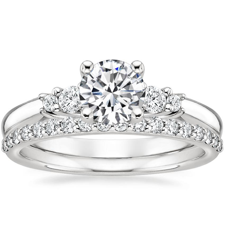 18K White Gold Rialto Diamond Ring with Petite Shared Prong Diamond Ring (1/4 ct. tw.)