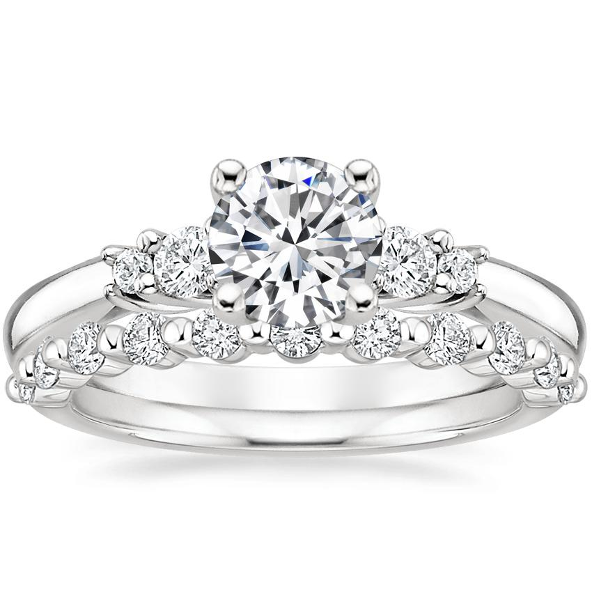 18K White Gold Rialto Diamond Ring with Marseille Diamond Ring (1/3 ct. tw.)