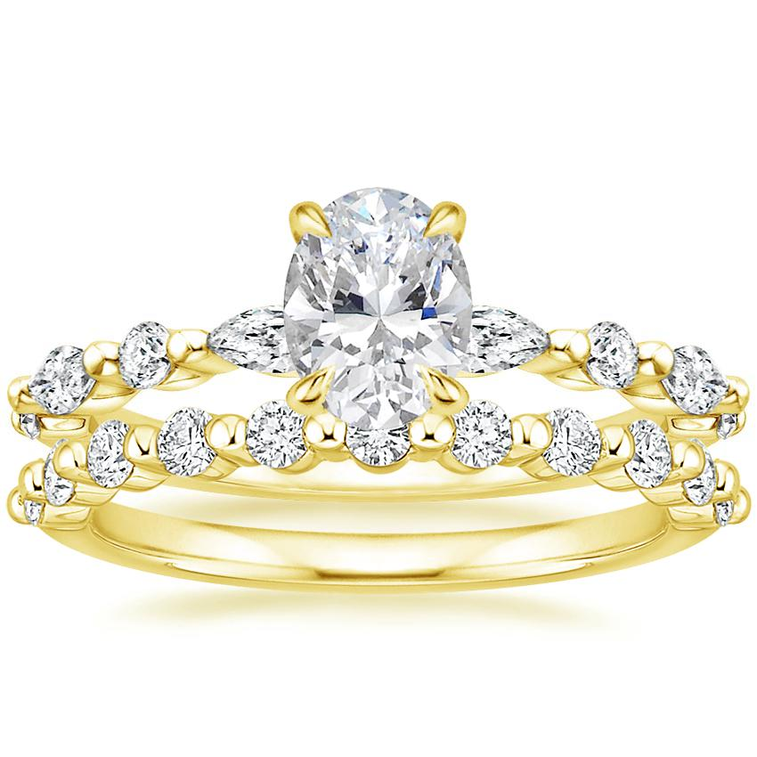 18K Yellow Gold Versailles Diamond Ring with Marseille Diamond Ring (1/3 ct. tw.)