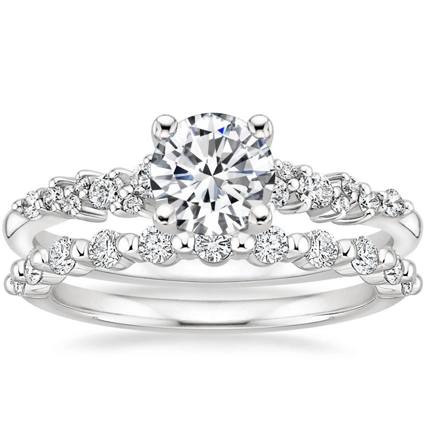 Platinum Aurora Diamond Ring with Marseille Diamond Ring (1/3 ct. tw.)