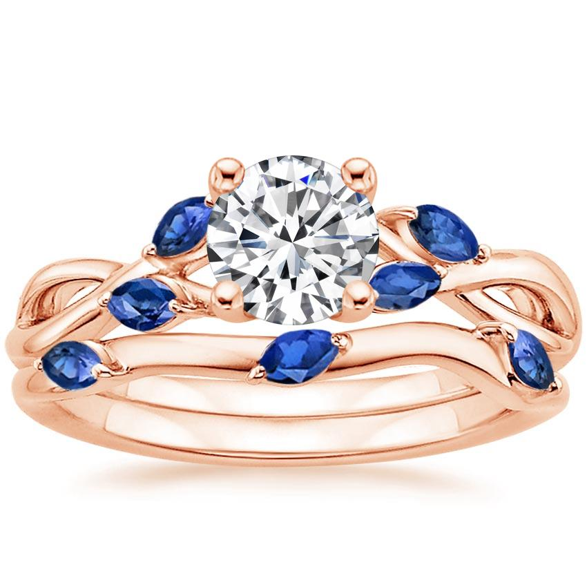 14K Rose Gold Willow Bridal Set With Sapphire Accents