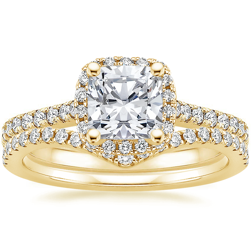 18K Yellow Gold Luxe Odessa Diamond Ring (1/3 ct. tw.) with Flair Diamond Ring (1/6 ct. tw.)