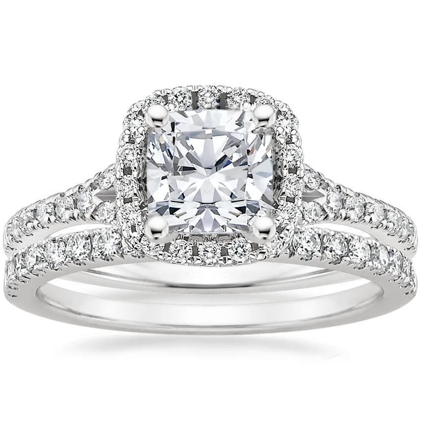 18K White Gold Harmony Diamond Ring with Bliss Diamond Ring (1/4 ct. tw.), top view