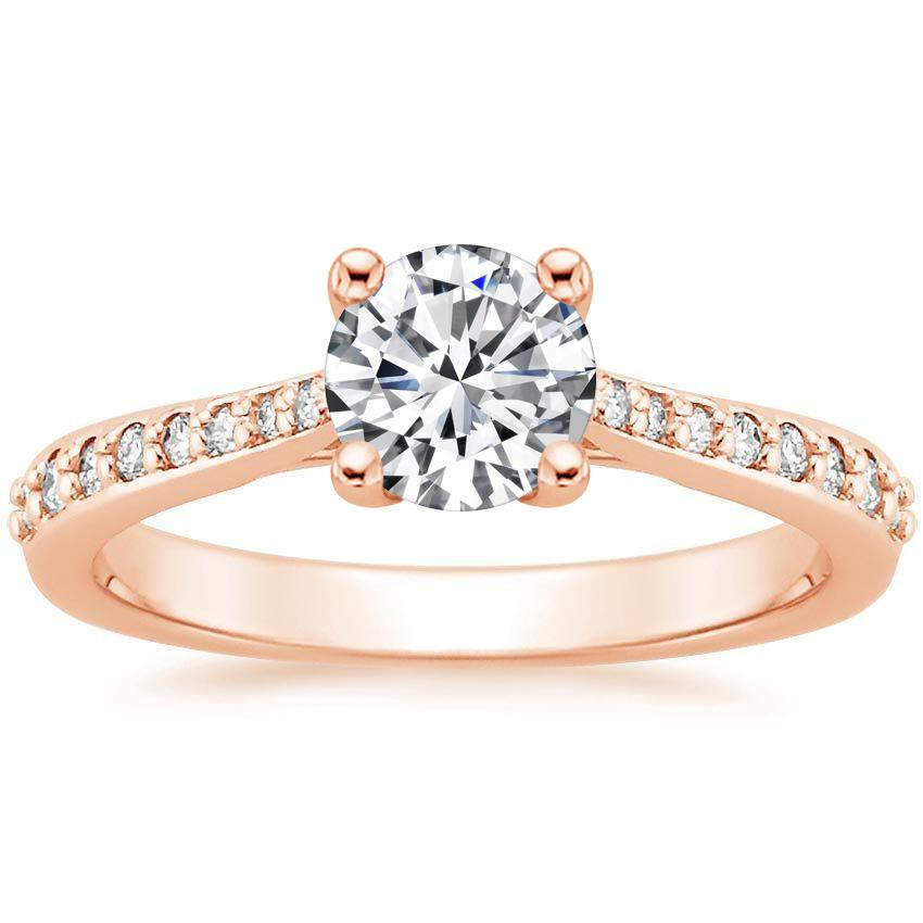 14K Rose Gold Geneva Diamond Ring, top view