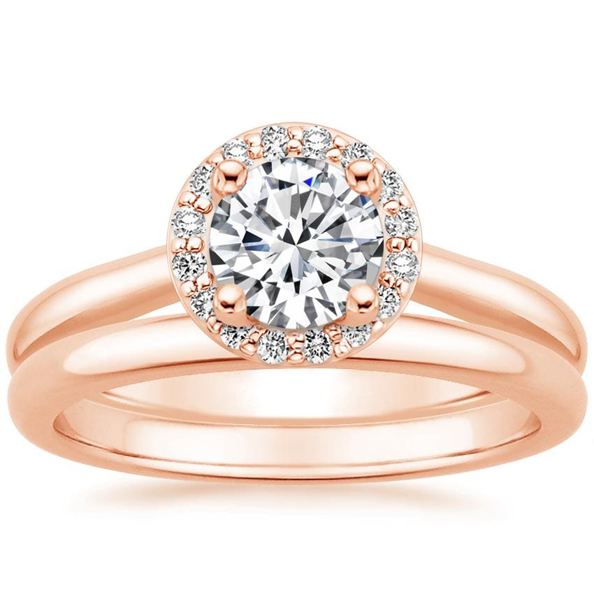 14K Rose Gold Halo Diamond Bridal Set (1/6 ct. tw.)