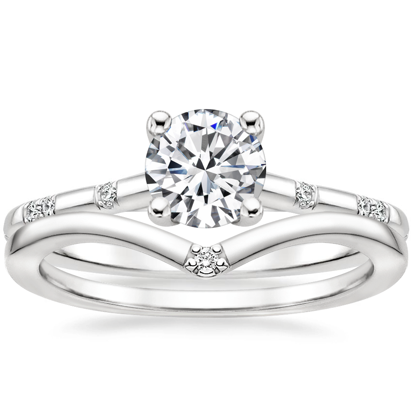 18K White Gold Astra Diamond Ring with Arc Diamond Ring