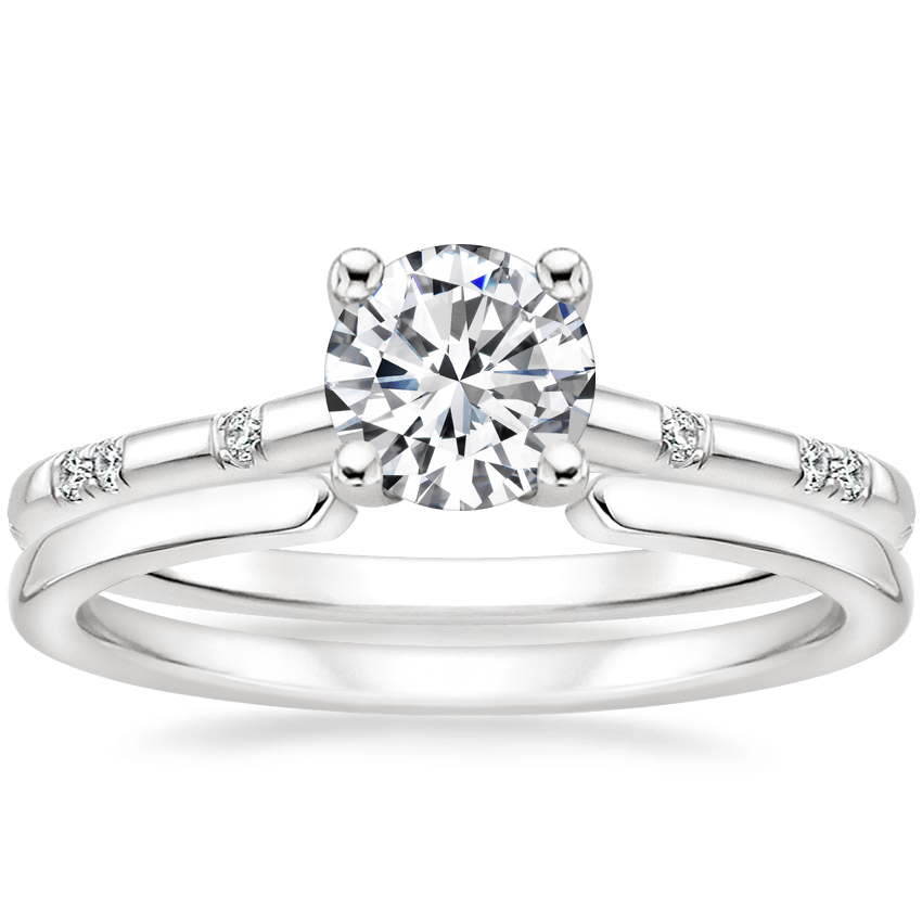 18K White Gold Astra Diamond Ring with Liv Wedding Ring
