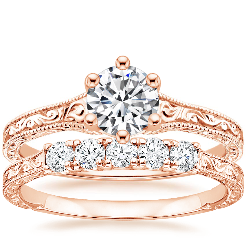 14K Rose Gold Hudson Ring with Hudson Five Stone Diamond Ring (1/4 ct. tw.)