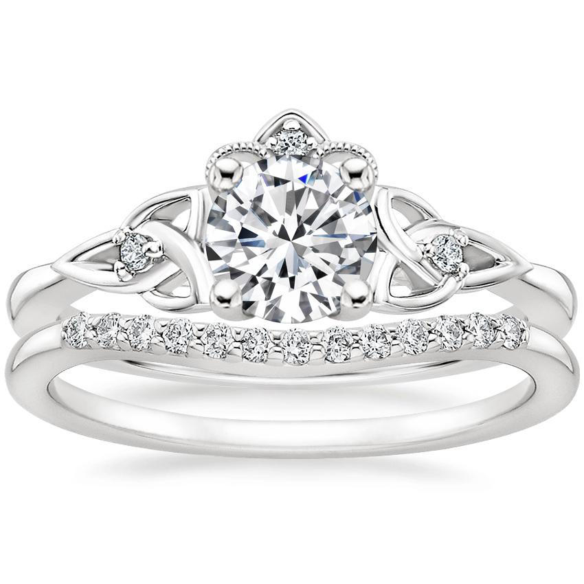 18K White Gold Celtic Crown Diamond Ring with Petite Curved Diamond Ring