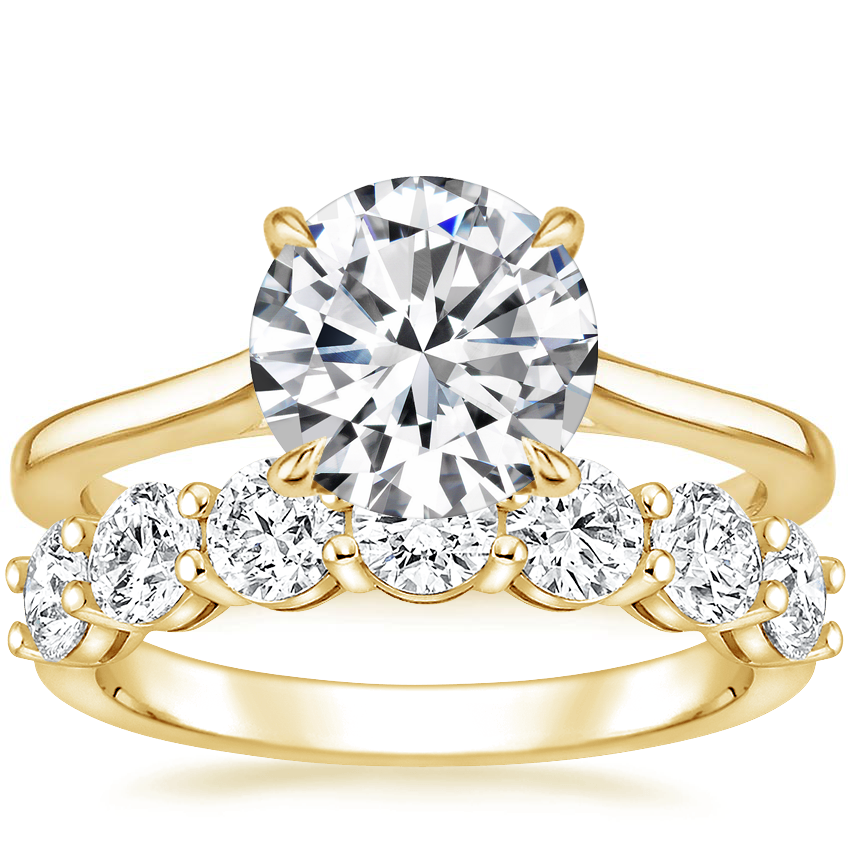 18K Yellow Gold Provence Ring with Round Seven Stone Diamond Ring (1 1/2 ct. tw.)