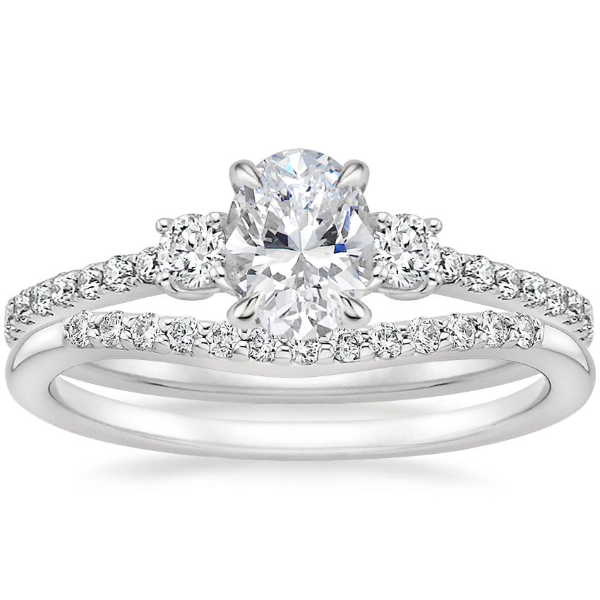 18K White Gold Lyra Diamond Ring (1/4 ct. tw.) with Petite Curved Diamond Ring (1/10 ct. tw.)