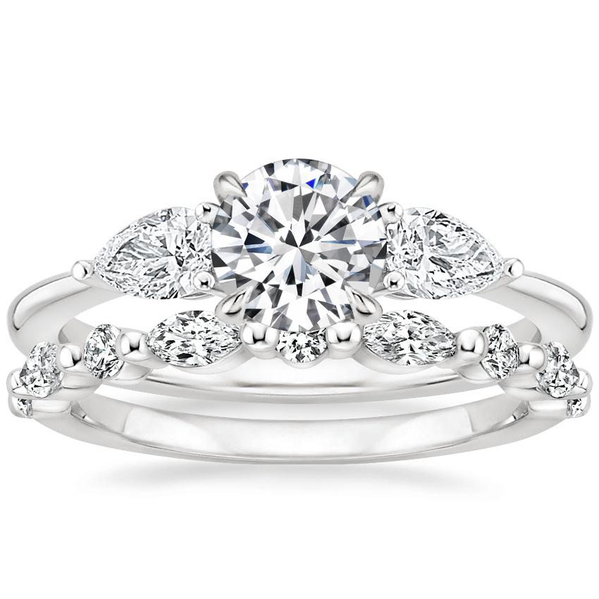 18K White Gold Opera Diamond Ring with Versailles Diamond Ring (3/8 ct. tw.)
