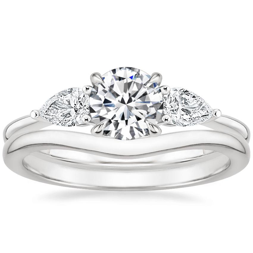 18K White Gold Opera Diamond Ring with Petite Curved Wedding Ring