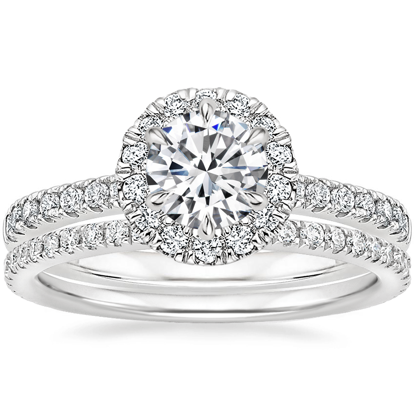 18K White Gold Poppy Halo Diamond Ring (1/3 ct. tw.) with Luxe Ballad Diamond Ring (1/4 ct. tw.)