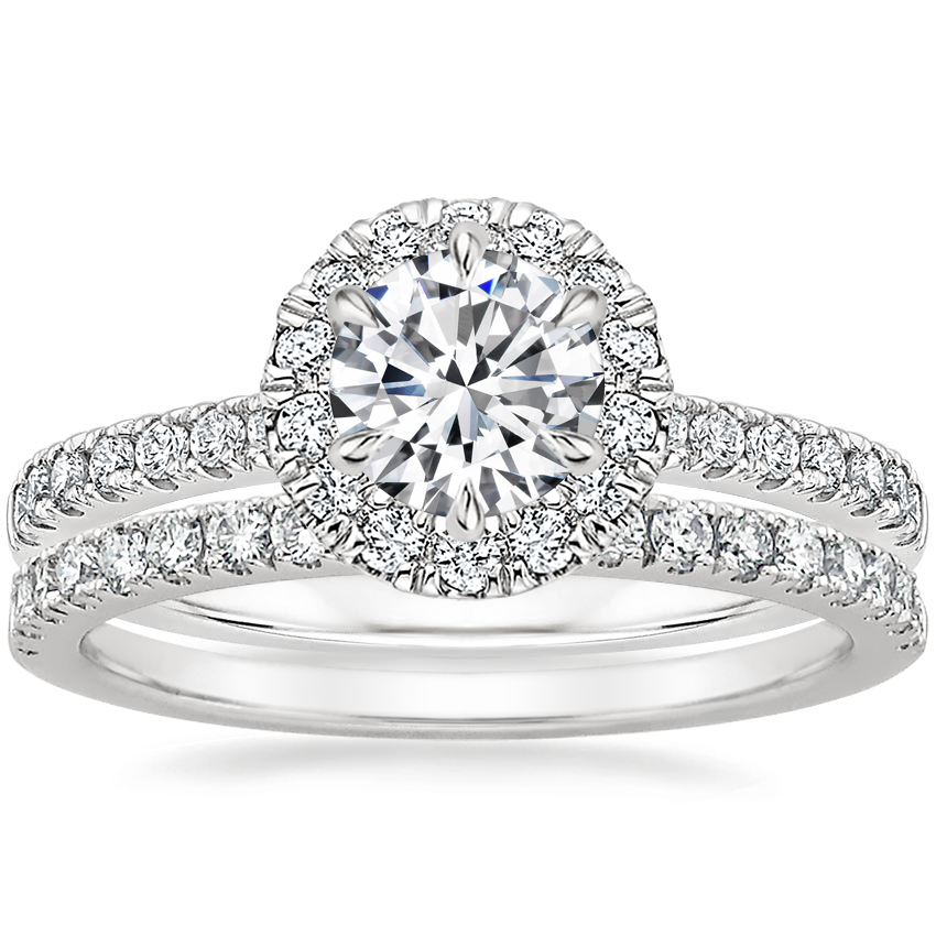 18K White Gold Poppy Halo Diamond Ring (1/3 ct. tw.) with Bliss Diamond Ring (1/5 ct. tw.)