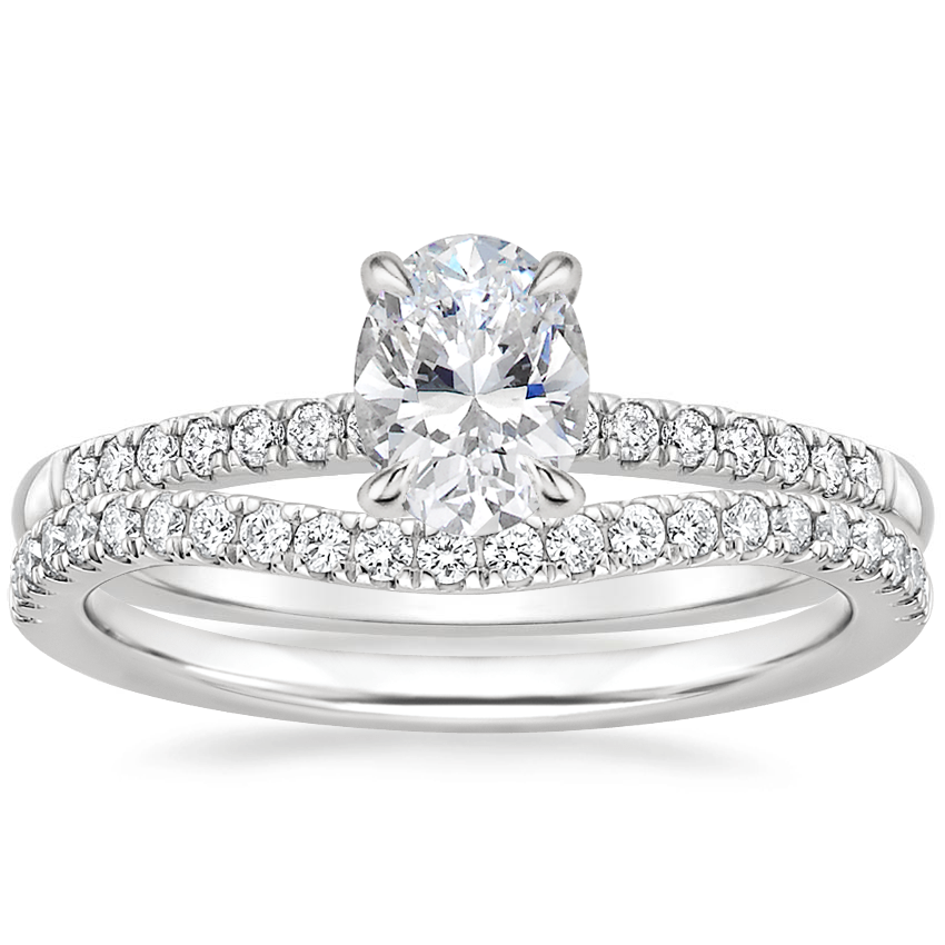 Platinum Petite Viviana Diamond Ring (1/6 ct. tw.) with Curved Ballad Diamond Ring (1/6 ct. tw.)