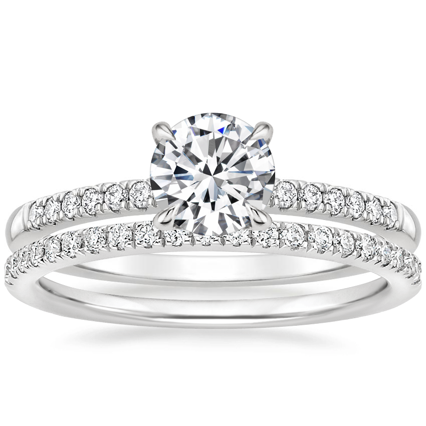 Platinum Petite Viviana Diamond Ring (1/6 ct. tw.) with Ballad Diamond Ring (1/6 ct. tw.)