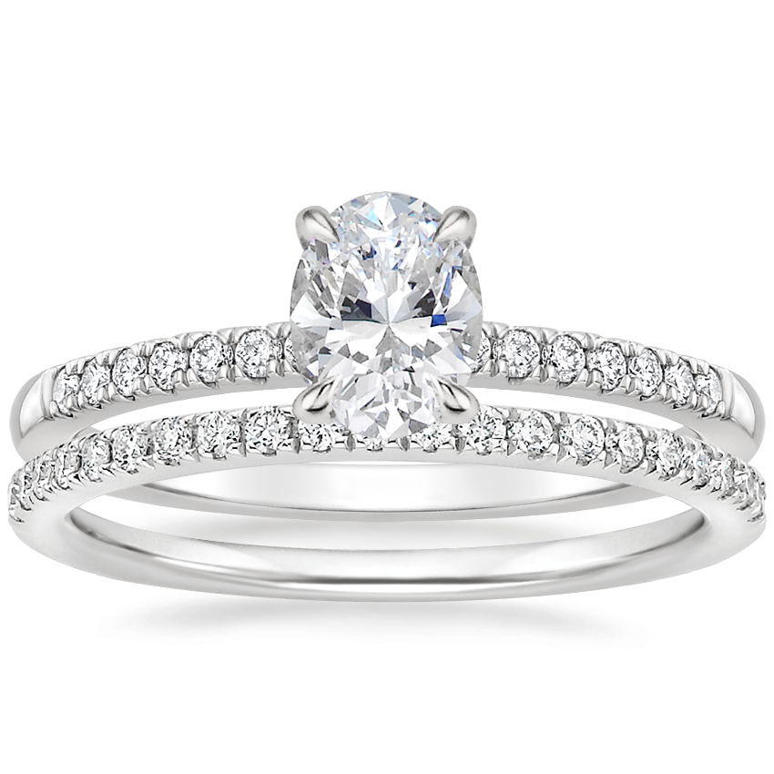 18K White Gold Petite Viviana Diamond Ring (1/6 ct. tw.) with Ballad Diamond Ring (1/6 ct. tw.)