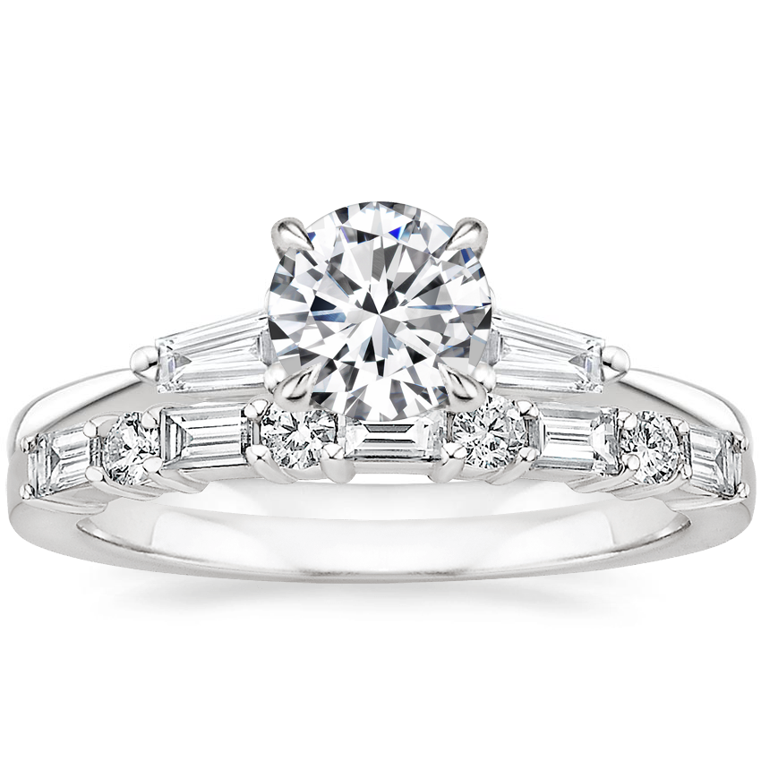 18K White Gold Quinn Diamond Ring with Leona Diamond Ring (1/3 ct. tw.)