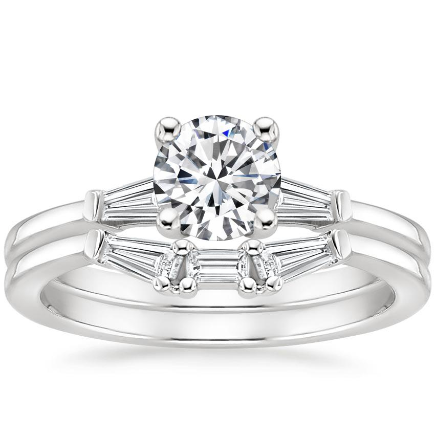 18K White Gold Tapered Baguette Diamond Bridal Set