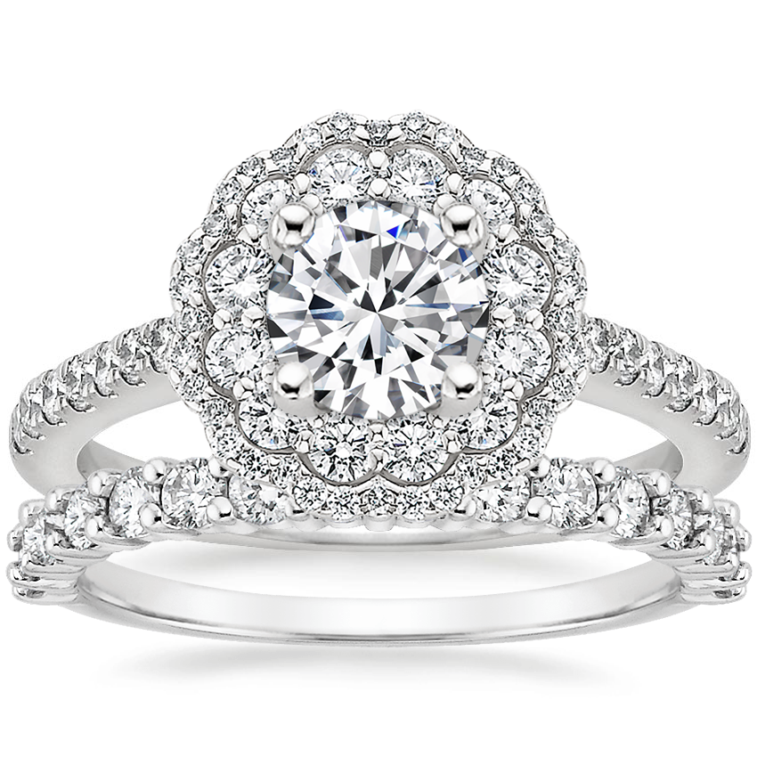 18K White Gold Rosa Diamond Ring with Shared Prong Diamond Ring (2/5 ct. tw.)