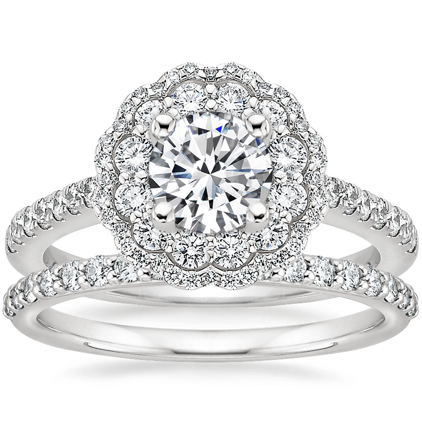 Platinum Rosa Diamond Ring with Petite Shared Prong Diamond Ring (1/4 ct. tw.)