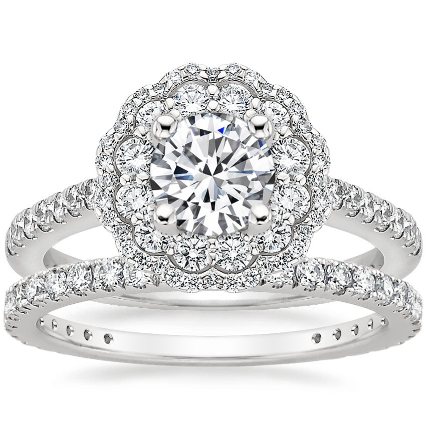 18K White Gold Rosa Diamond Ring with Luxe Bliss Diamond Ring (1/3 ct. tw.)