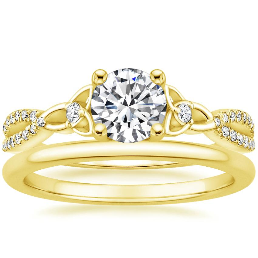 18K Yellow Gold Luxe Entwined Celtic Love Knot Diamond Ring with Petite Comfort Fit Wedding Ring