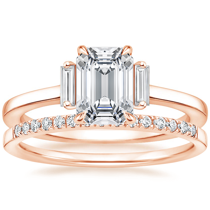 14K Rose Gold Piper Diamond Ring with Petite Ballad Diamond Ring (1/10 ct. tw.)